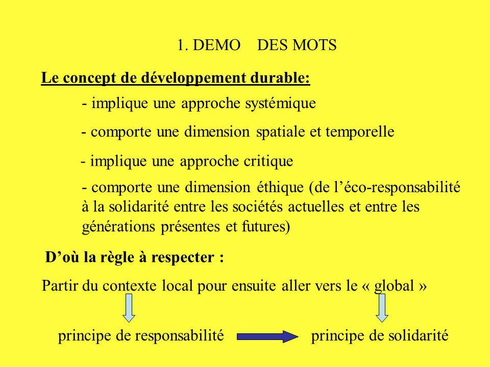 1. DEMO DES MOTS Le concept de développement durable: - comporte une dimension éthique (de l'éco-responsabilité à la solidarité entre les sociétés act