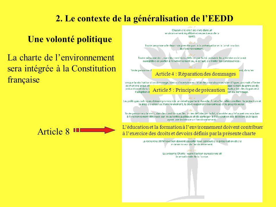 2. Le contexte de la généralisation de l'EEDD Une volonté politique La charte de l'environnement sera intégrée à la Constitution française Article 8 L