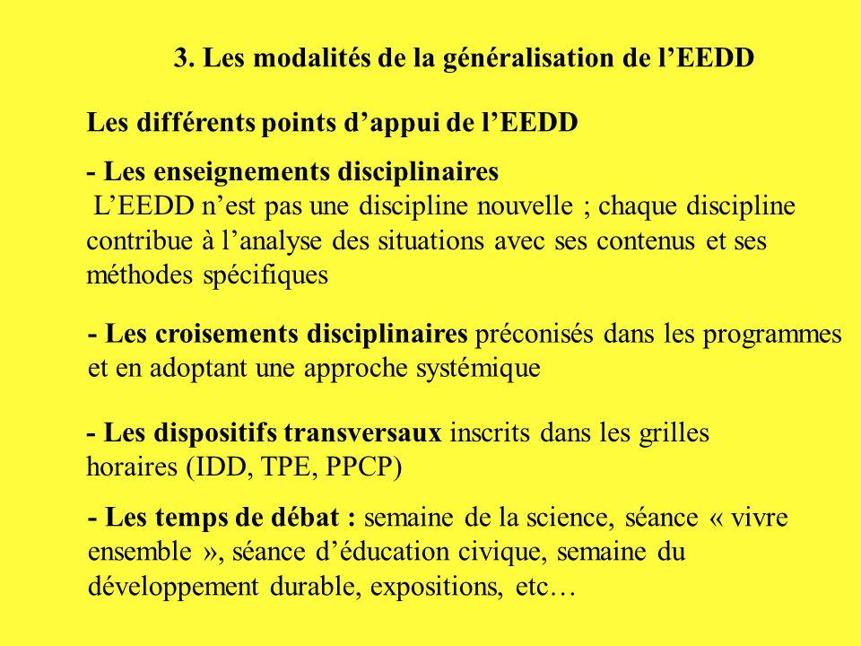 3. Les modalités de la généralisation de l'EEDD Les différents points d'appui de l'EEDD - Les enseignements disciplinaires L'EEDD n'est pas une discip
