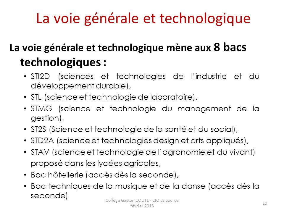 Collège Gaston COUTE - CIO La Source février 2013 10 La voie générale et technologique La voie générale et technologique mène aux 8 bacs technologique