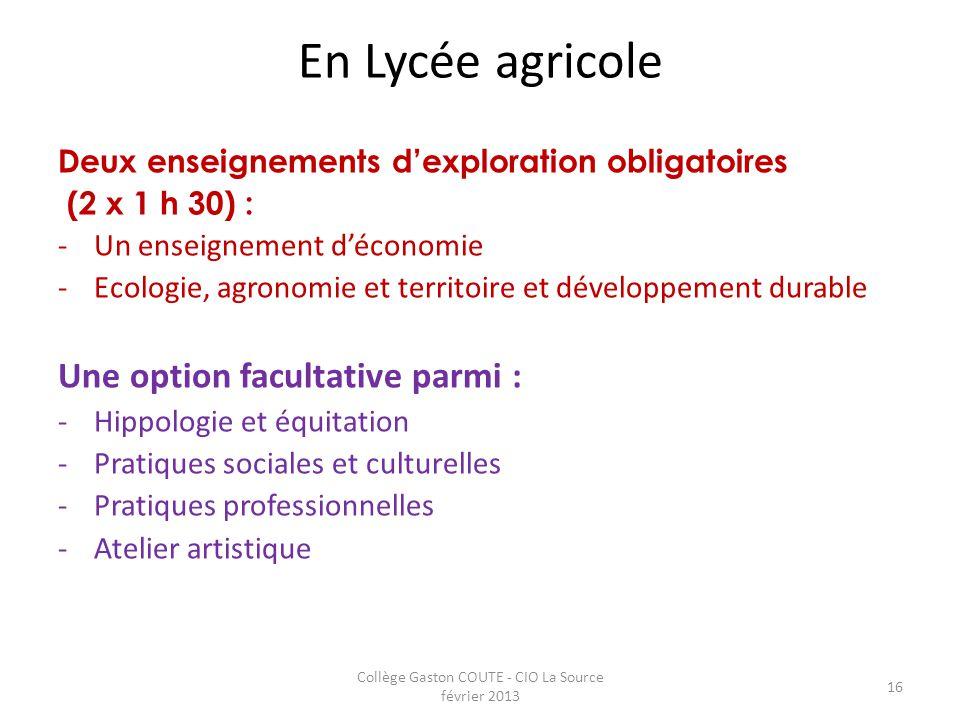 Collège Gaston COUTE - CIO La Source février 2013 16 En Lycée agricole Deux enseignements d'exploration obligatoires (2 x 1 h 30) : -Un enseignement d