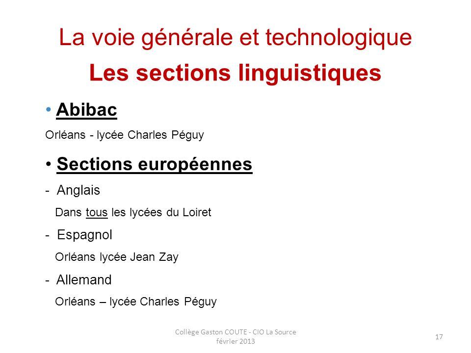 Collège Gaston COUTE - CIO La Source février 2013 17 La voie générale et technologique Les sections linguistiques Abibac Orléans - lycée Charles Péguy