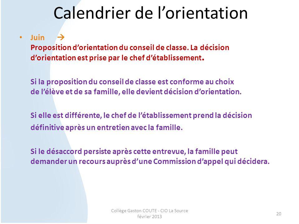 Collège Gaston COUTE - CIO La Source février 2013 20 Calendrier de l'orientation Juin  Proposition d'orientation du conseil de classe. La décision d'