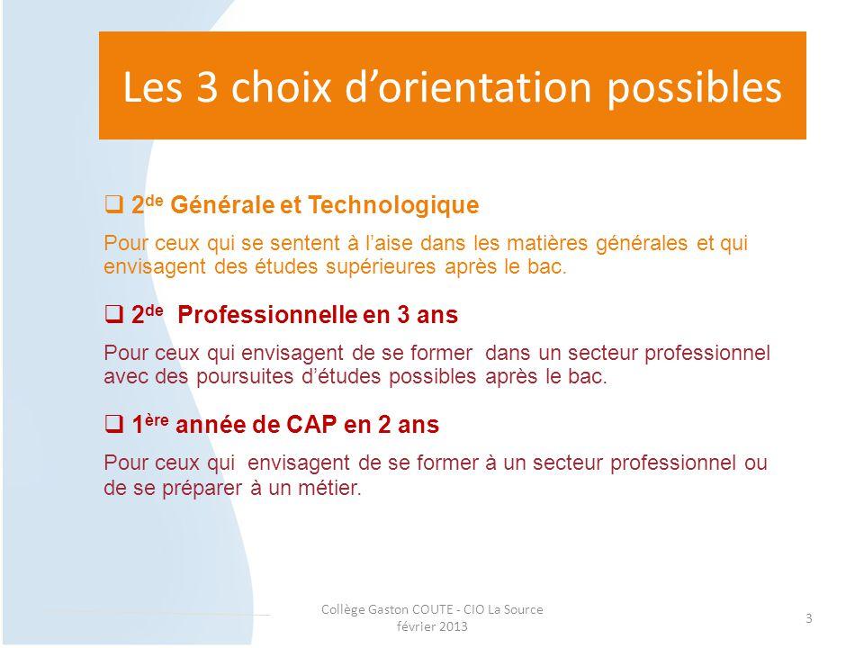 Collège Gaston COUTE - CIO La Source février 2013 3 Les 3 choix d'orientation possibles  2 de Générale et Technologique Pour ceux qui se sentent à l'