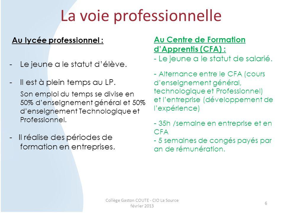 Collège Gaston COUTE - CIO La Source février 2013 6 La voie professionnelle Au lycée professionnel : -Le jeune a le statut d'élève. -Il est à plein te