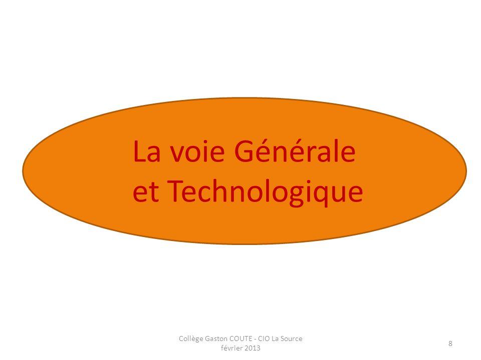 Collège Gaston COUTE - CIO La Source février 2013 8 La voie Générale et Technologique