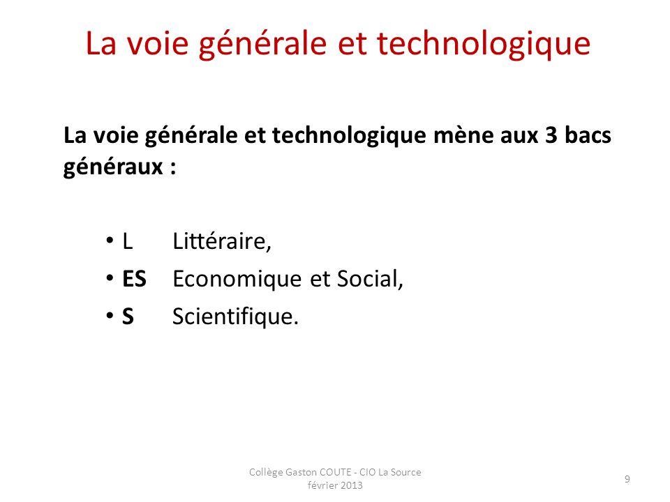 Collège Gaston COUTE - CIO La Source février 2013 9 La voie générale et technologique La voie générale et technologique mène aux 3 bacs généraux : L L