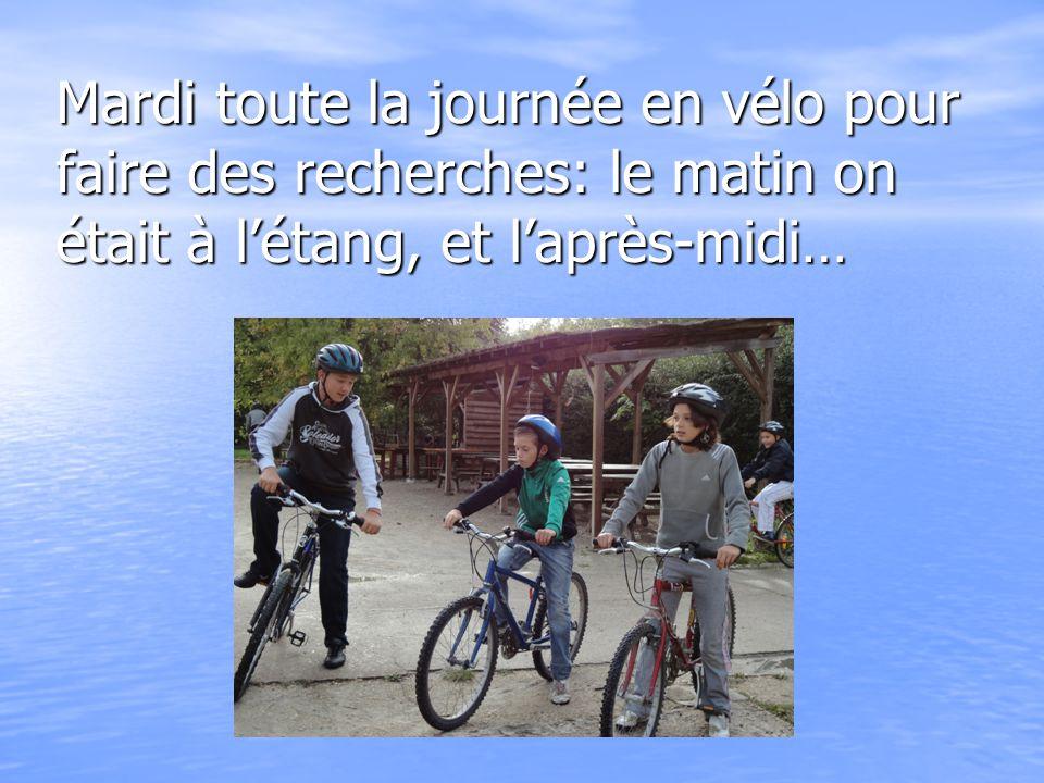 Mardi toute la journée en vélo pour faire des recherches: le matin on était à l'étang, et l'après-midi…