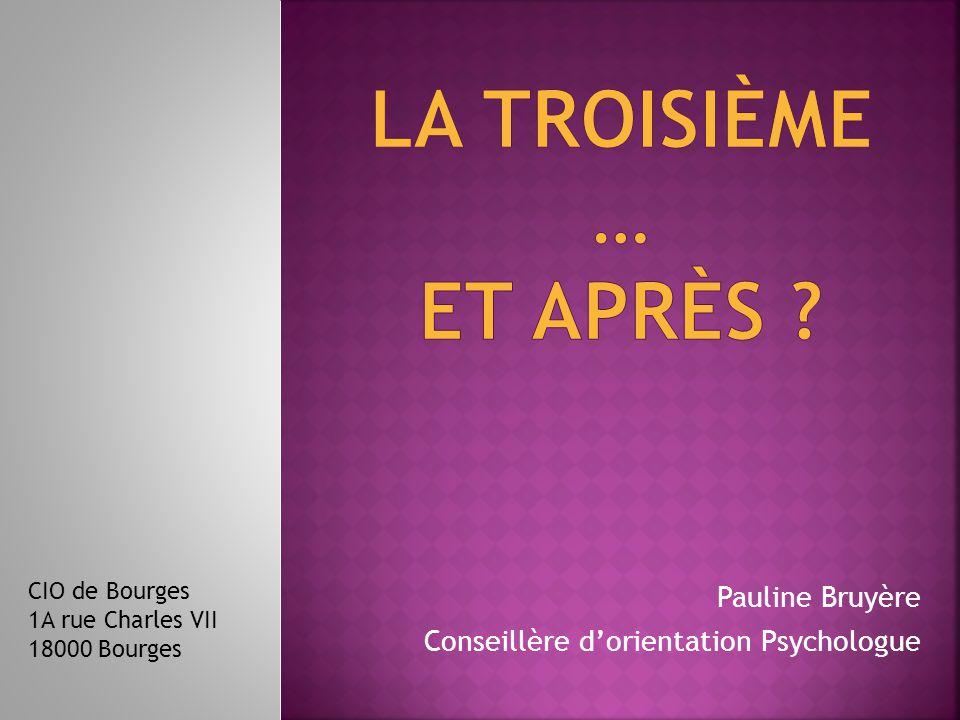 Pauline Bruyère Conseillère d'orientation Psychologue CIO de Bourges 1A rue Charles VII 18000 Bourges