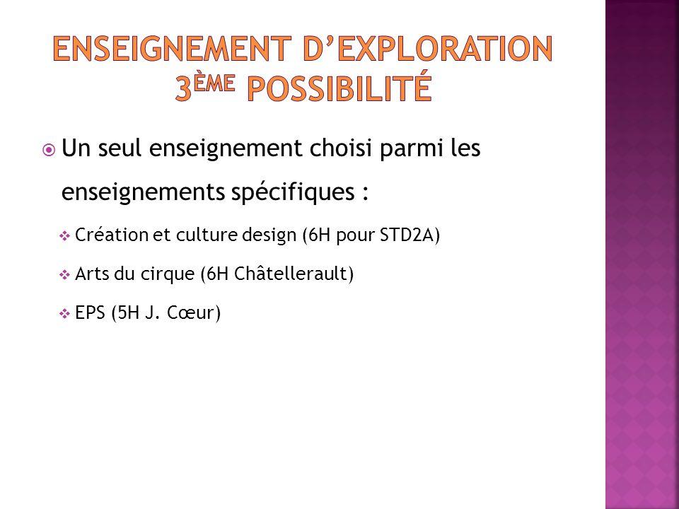  Un seul enseignement choisi parmi les enseignements spécifiques :  Création et culture design (6H pour STD2A)  Arts du cirque (6H Châtellerault) 