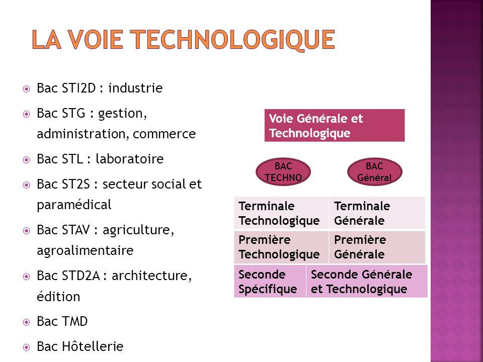  Bac STI2D : industrie  Bac STG : gestion, administration, commerce  Bac STL : laboratoire  Bac ST2S : secteur social et paramédical  Bac STAV :