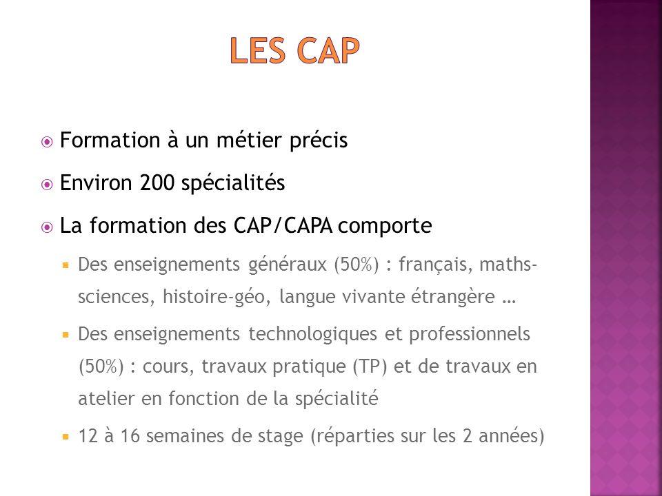  Formation à un métier précis  Environ 200 spécialités  La formation des CAP/CAPA comporte  Des enseignements généraux (50%) : français, maths- sc