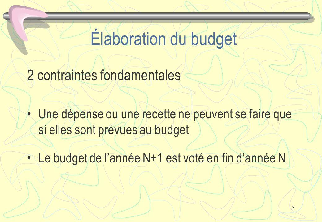 5 Élaboration du budget 2 contraintes fondamentales Une dépense ou une recette ne peuvent se faire que si elles sont prévues au budget Le budget de l'