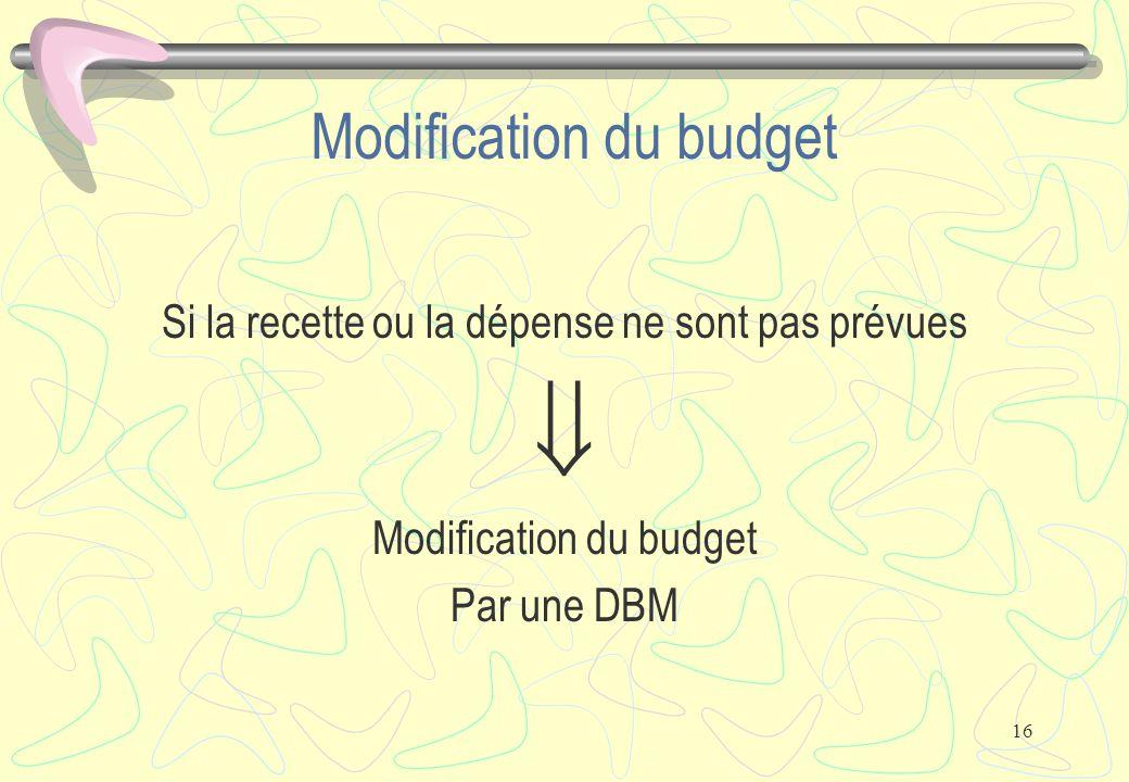 16 Modification du budget Si la recette ou la dépense ne sont pas prévues  Modification du budget Par une DBM