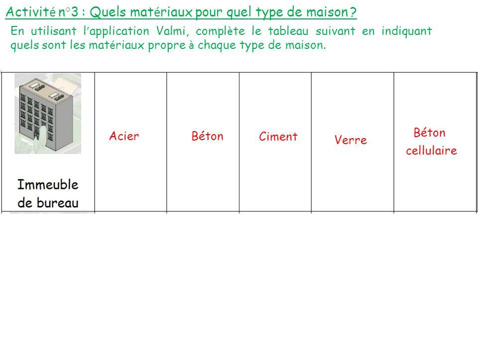 Activit é n°3 : Quels mat é riaux pour quel type de maison ? En utilisant l ' application Valmi, compl è te le tableau suivant en indiquant quels sont