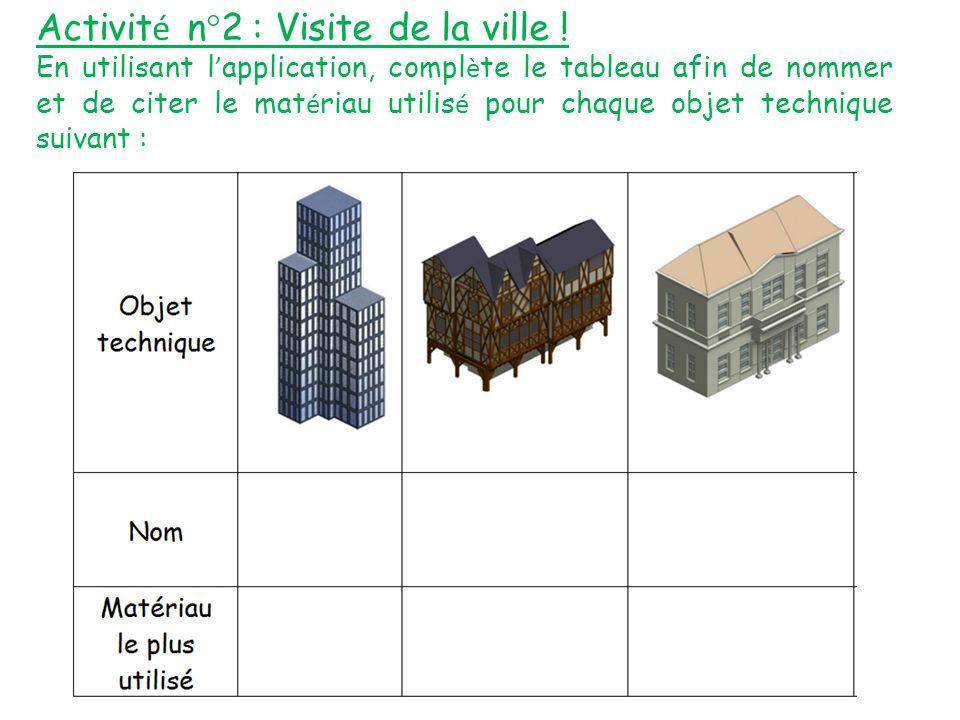 Activit é n°2 : Visite de la ville ! En utilisant l ' application, compl è te le tableau afin de nommer et de citer le mat é riau utilis é pour chaque
