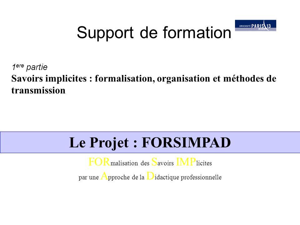 Paul OLRY - UP13Projet FORSIMPAD - LODZ12 Les finalités : FORSIMPAD se propose de : - Penser (ou repenser) la transmission des savoirs de métier dans l'entreprise à partir de la mise en évidence de et l'explicitation des concepts pragmatiques - Développer des méthodes d'appropriation des savoirs pragmatiques associant salariés expérimentés et nouveaux entrants - Produire des outils susceptibles d'enrichir les réponses formation Qu'est-ce que FORSIMPAD ?