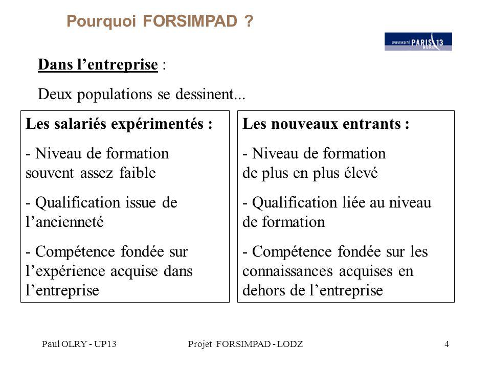 Paul OLRY - UP13Projet FORSIMPAD - LODZ5 Dans l'entreprise : Deux types d'organisation de la transmission du savoir...