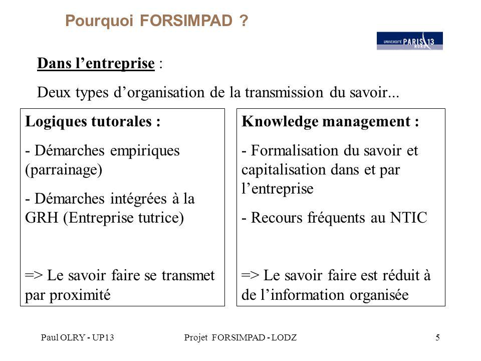 Paul OLRY - UP13Projet FORSIMPAD - LODZ16 Comment opérationnaliser FORSIMPAD dans les entreprises .