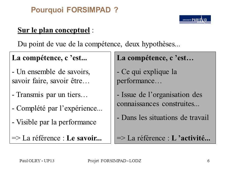 Paul OLRY - UP13Projet FORSIMPAD - LODZ6 Sur le plan conceptuel : Du point de vue de la compétence, deux hypothèses...