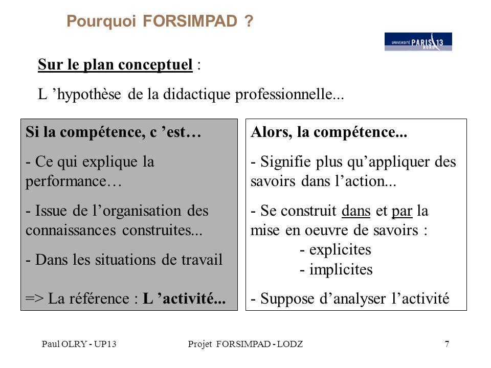 Paul OLRY - UP13Projet FORSIMPAD - LODZ7 Sur le plan conceptuel : L 'hypothèse de la didactique professionnelle...