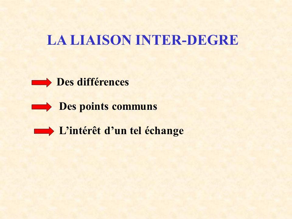 LA LIAISON INTER-DEGRE Des différences Des points communs L'intérêt d'un tel échange