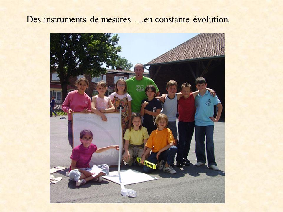 Des instruments de mesures …en constante évolution.