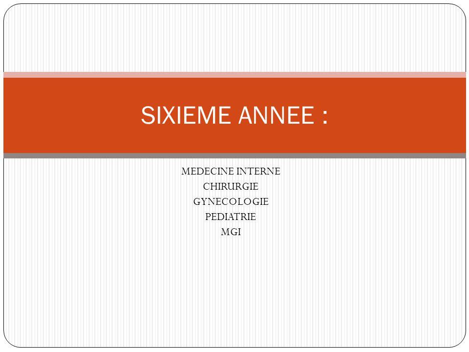 MEDECINE INTERNE CHIRURGIE GYNECOLOGIE PEDIATRIE MGI SIXIEME ANNEE :