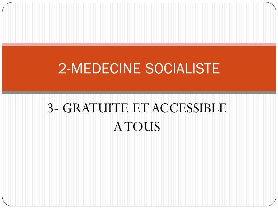3- GRATUITE ET ACCESSIBLE A TOUS 2-MEDECINE SOCIALISTE