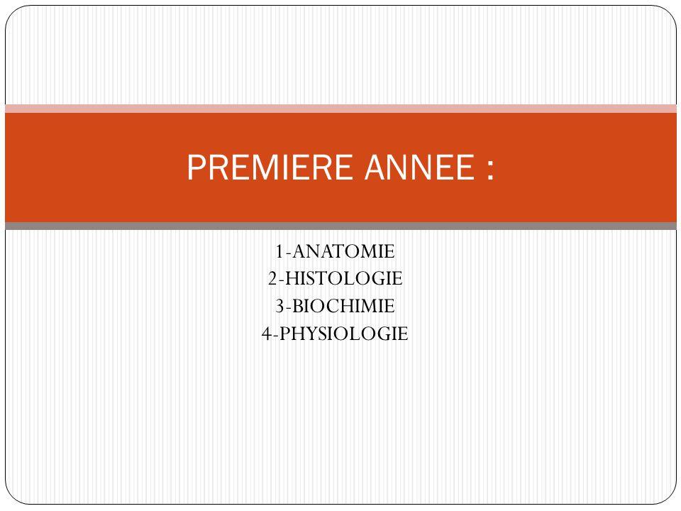 1-ANATOMIE 2-HISTOLOGIE 3-BIOCHIMIE 4-PHYSIOLOGIE PREMIERE ANNEE :