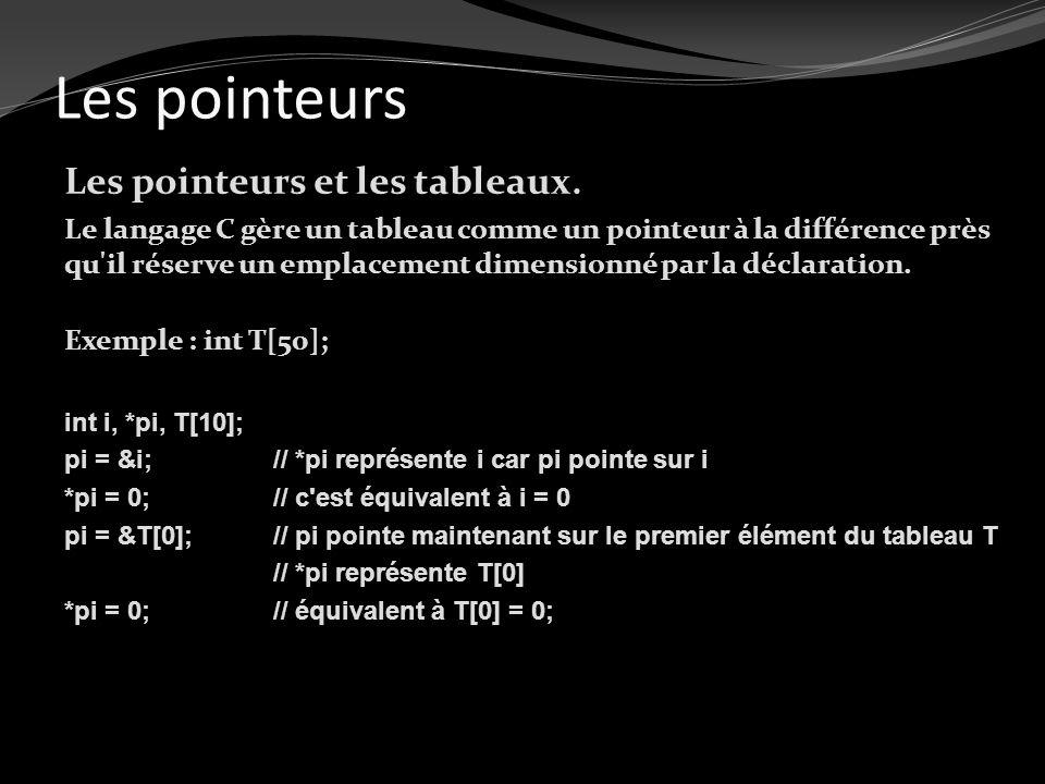Les pointeurs Les pointeurs et les tableaux. Le langage C gère un tableau comme un pointeur à la différence près qu'il réserve un emplacement dimensio