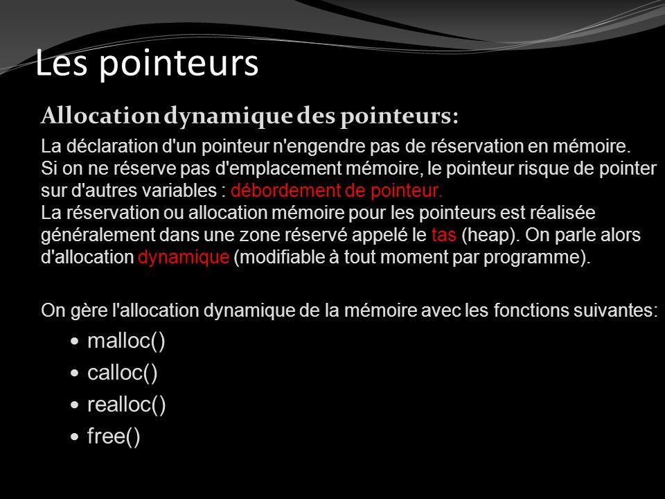 Les pointeurs Allocation dynamique des pointeurs: La déclaration d'un pointeur n'engendre pas de réservation en mémoire. Si on ne réserve pas d'emplac