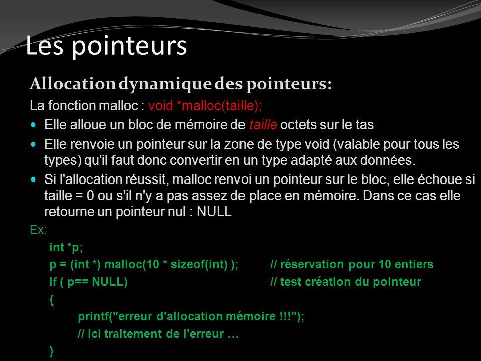 Les pointeurs Allocation dynamique des pointeurs: La fonction malloc : void *malloc(taille); Elle alloue un bloc de mémoire de taille octets sur le ta