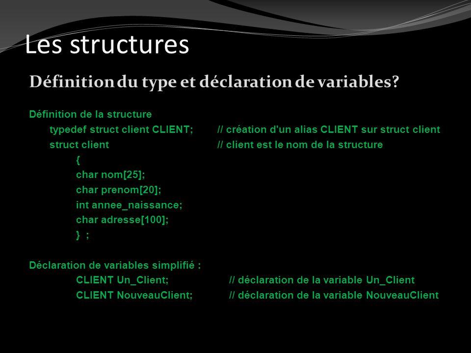 Les structures Définition du type et déclaration de variables? Définition de la structure typedef struct client CLIENT;// création d'un alias CLIENT s