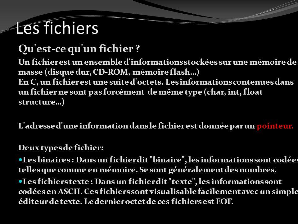 Les fichiers Qu'est-ce qu'un fichier ? Un fichier est un ensemble d'informations stockées sur une mémoire de masse (disque dur, CD-ROM, mémoire flash…