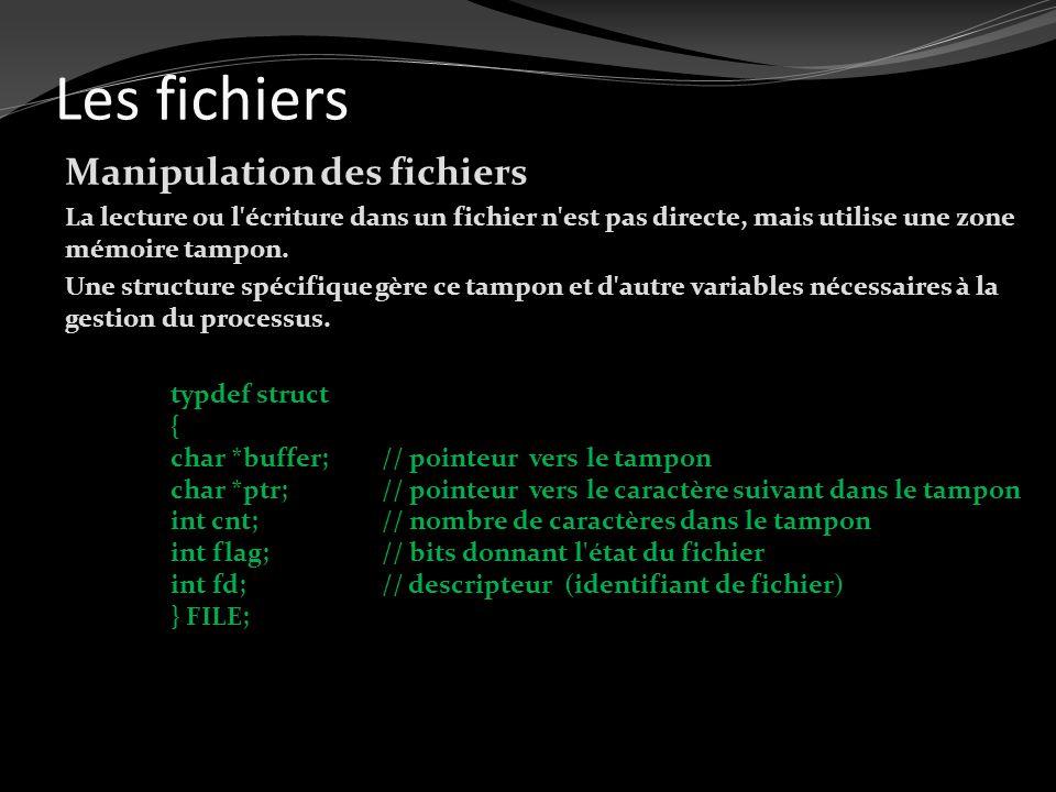 Les fichiers Manipulation des fichiers La lecture ou l'écriture dans un fichier n'est pas directe, mais utilise une zone mémoire tampon. Une structure