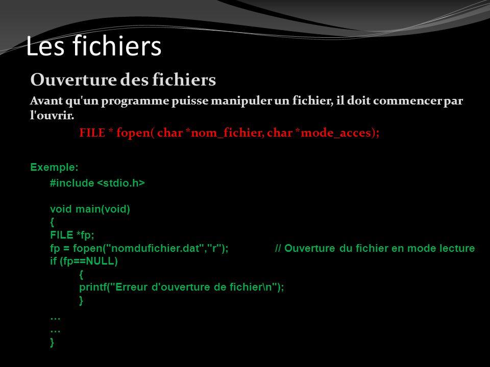 Les fichiers Ouverture des fichiers Avant qu'un programme puisse manipuler un fichier, il doit commencer par l'ouvrir. FILE * fopen( char *nom_fichier