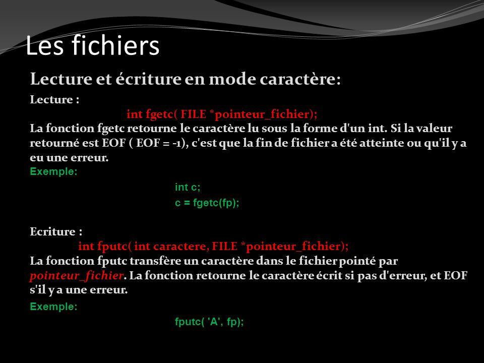Les fichiers Lecture et écriture en mode caractère: Lecture : int fgetc( FILE *pointeur_fichier); La fonction fgetc retourne le caractère lu sous la f
