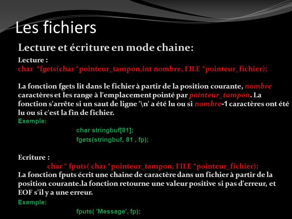 Les fichiers Lecture et écriture en mode chaine: Lecture : char *fgets(char *pointeur_tampon,int nombre, FILE *pointeur_fichier); La fonction fgets li