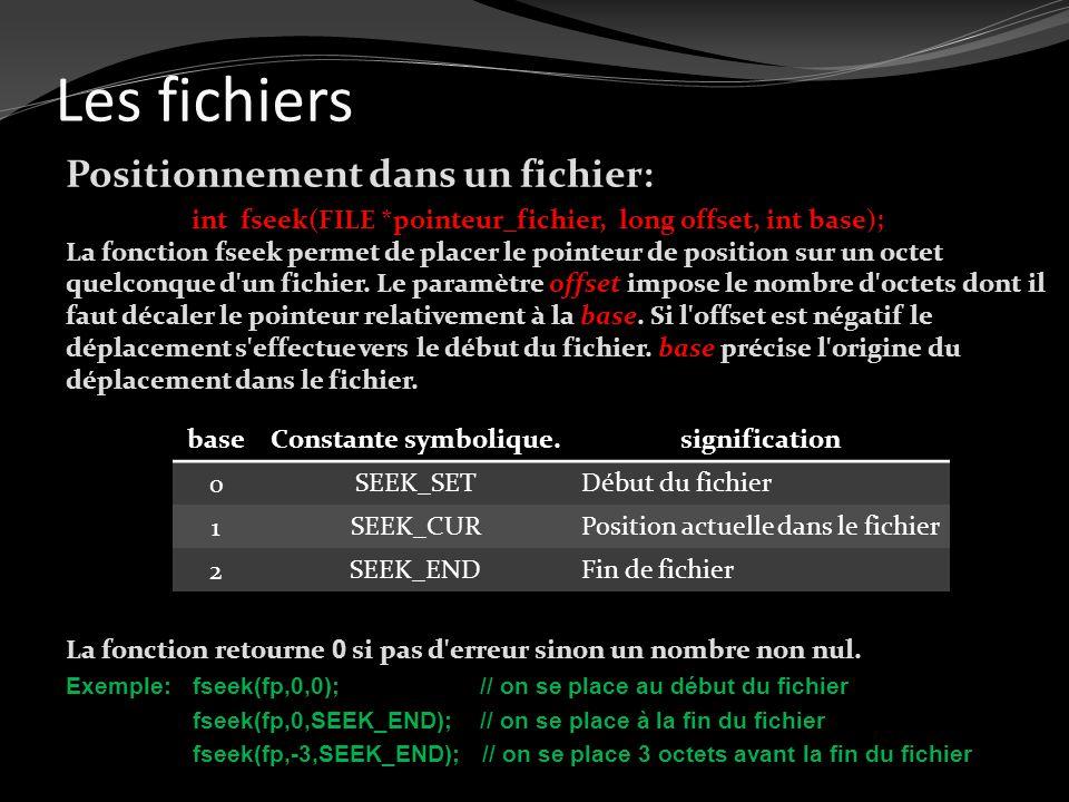 Les fichiers Positionnement dans un fichier: int fseek(FILE *pointeur_fichier, long offset, int base); La fonction fseek permet de placer le pointeur