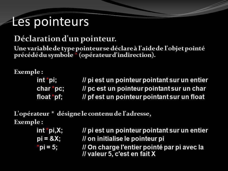 Les pointeurs Déclaration d'un pointeur. Une variable de type pointeur se déclare à l'aide de l'objet pointé précédé du symbole * (opérateur d'indirec