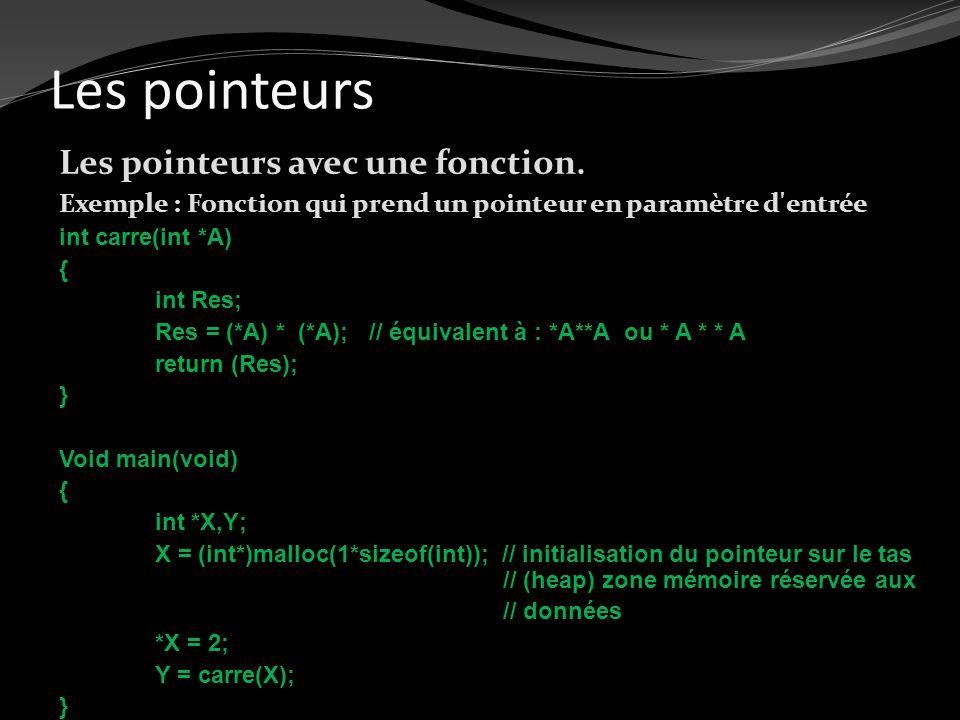 Les pointeurs Les pointeurs avec une fonction. Exemple : Fonction qui prend un pointeur en paramètre d'entrée int carre(int *A) { int Res; Res = (*A)