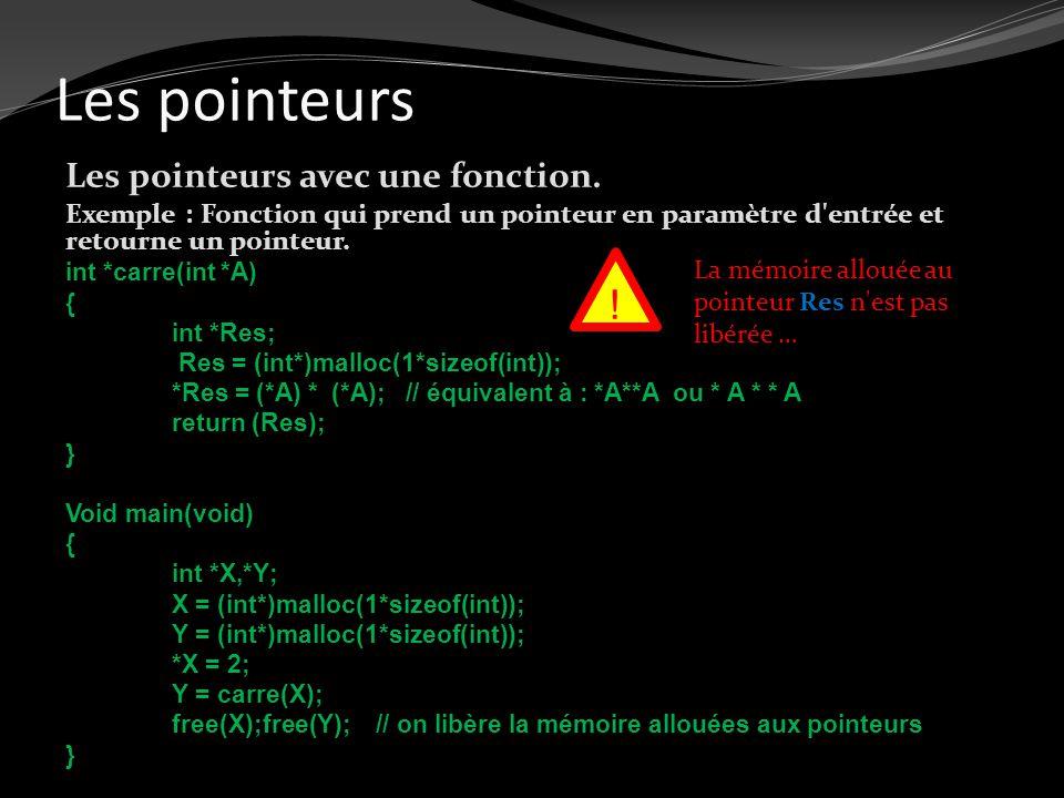 Les pointeurs Les pointeurs avec une fonction. Exemple : Fonction qui prend un pointeur en paramètre d'entrée et retourne un pointeur. int *carre(int