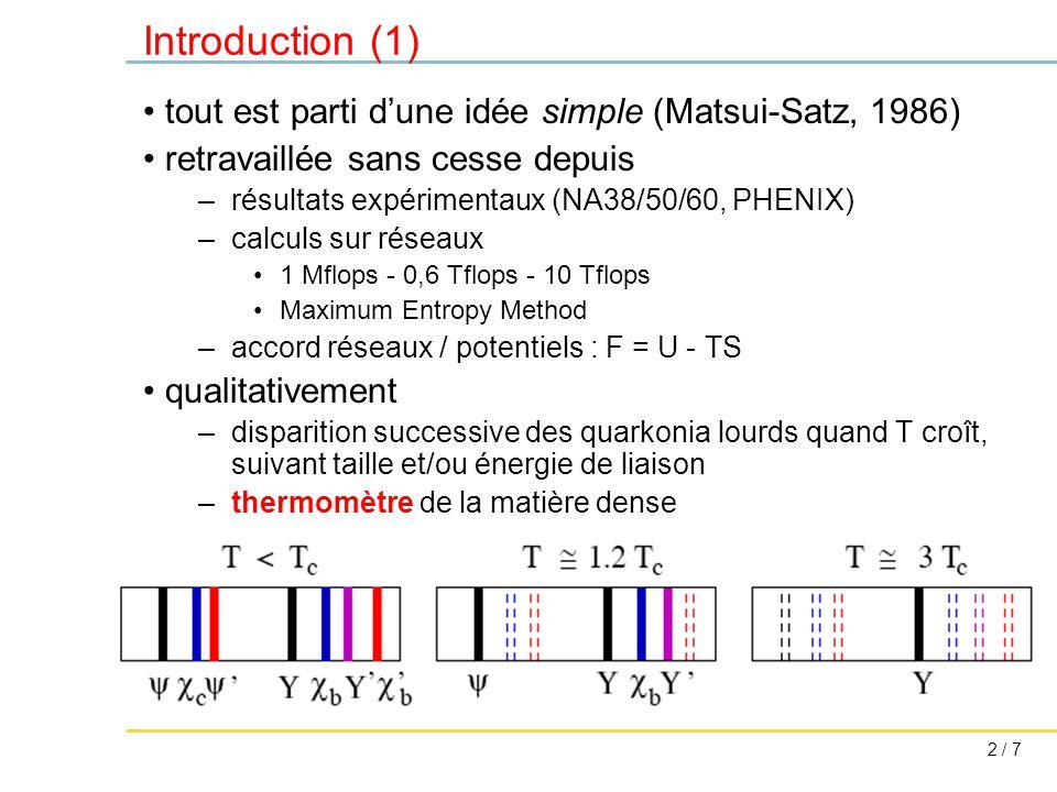 2 / 7 Introduction (1) tout est parti d'une idée simple (Matsui-Satz, 1986) retravaillée sans cesse depuis –résultats expérimentaux (NA38/50/60, PHENIX) –calculs sur réseaux 1 Mflops - 0,6 Tflops - 10 Tflops Maximum Entropy Method –accord réseaux / potentiels : F = U - TS qualitativement –disparition successive des quarkonia lourds quand T croît, suivant taille et/ou énergie de liaison –thermomètre de la matière dense