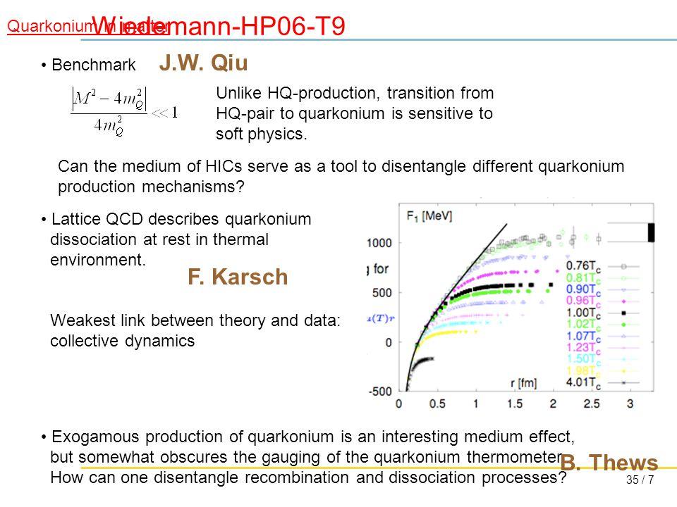 35 / 7 Wiedemann-HP06-T9 Quarkonium in matter Benchmark J.W.