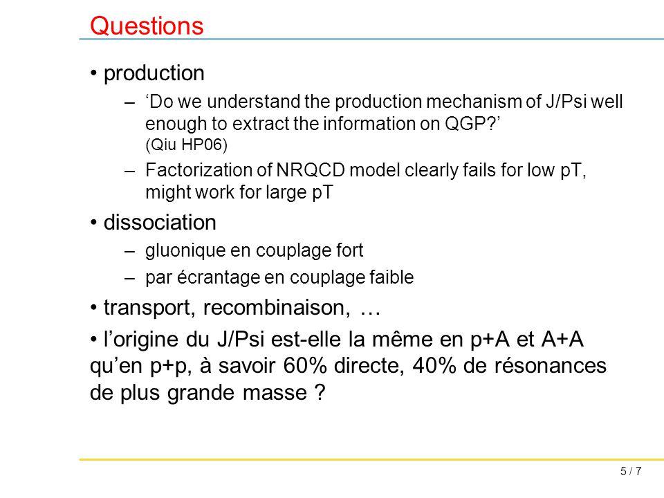 5 / 7 Questions production –'Do we understand the production mechanism of J/Psi well enough to extract the information on QGP?' (Qiu HP06) –Factorization of NRQCD model clearly fails for low pT, might work for large pT dissociation –gluonique en couplage fort –par écrantage en couplage faible transport, recombinaison, … l'origine du J/Psi est-elle la même en p+A et A+A qu'en p+p, à savoir 60% directe, 40% de résonances de plus grande masse ?