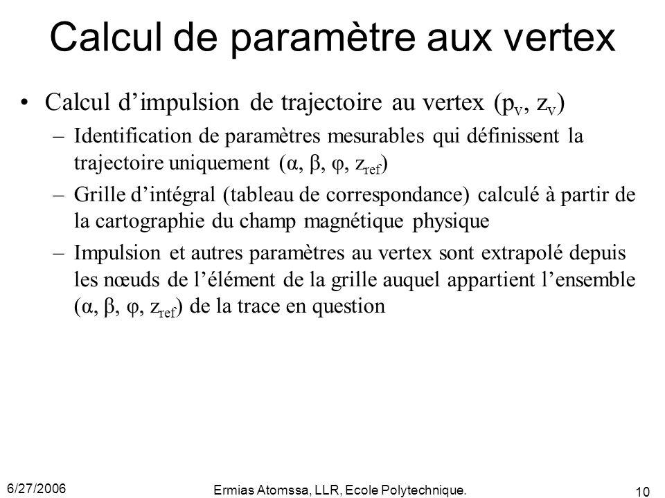 6/27/2006 Ermias Atomssa, LLR, Ecole Polytechnique. 10 Calcul de paramètre aux vertex Calcul d'impulsion de trajectoire au vertex (p v, z v ) –Identif