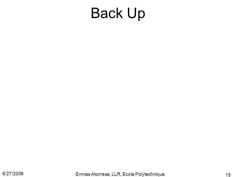 6/27/2006 Ermias Atomssa, LLR, Ecole Polytechnique. 15 Back Up