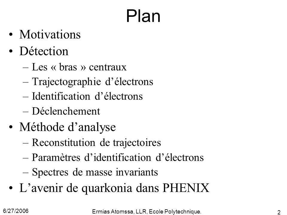 6/27/2006 Ermias Atomssa, LLR, Ecole Polytechnique. 2 Plan Motivations Détection –Les « bras » centraux –Trajectographie d'électrons –Identification d