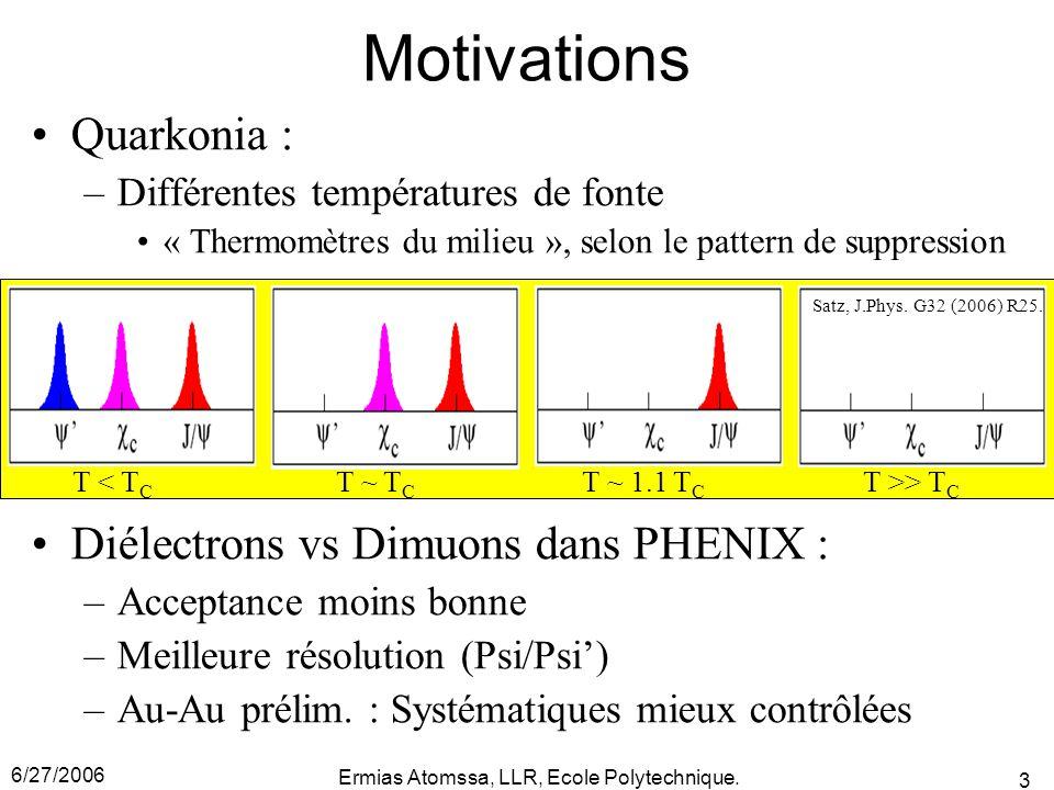 6/27/2006 Ermias Atomssa, LLR, Ecole Polytechnique. 3 Motivations Quarkonia : –Différentes températures de fonte « Thermomètres du milieu », selon le